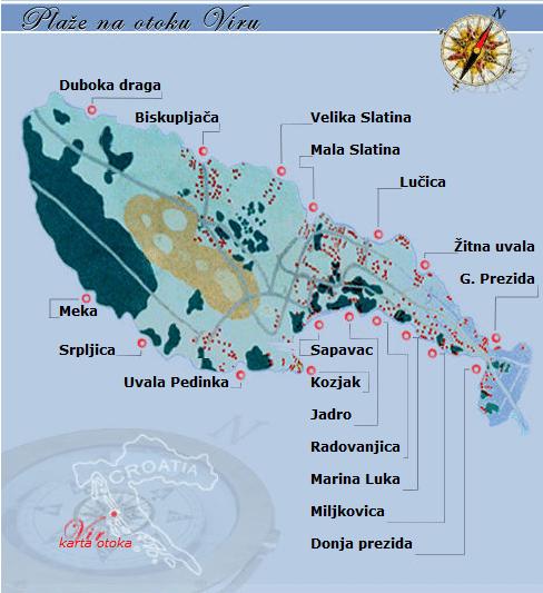 Ostrov Vir – pláže